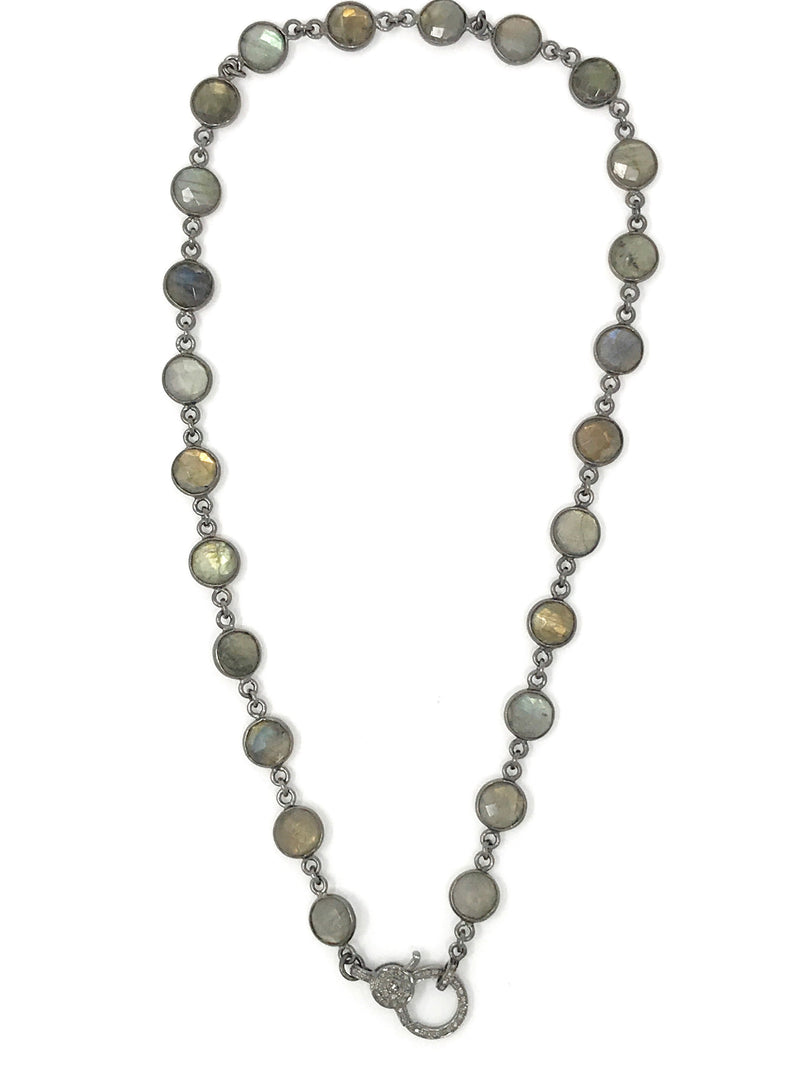 Labradorite Bezel Set Gunmetal Chain with Diamond Clasp 17""