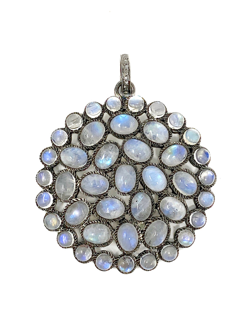 Rainbow Moonstones Round Pendant with Diamond Bail