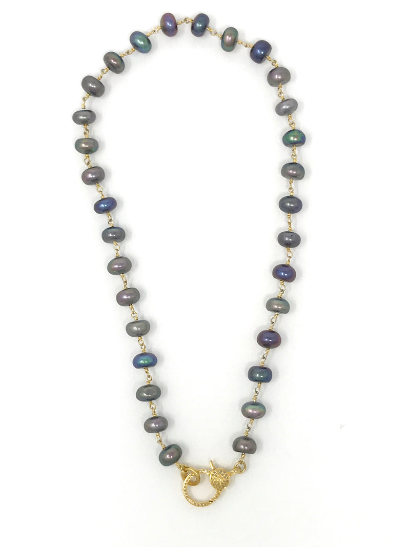Peacock Freshwater Pearl Gold Chain with Vermeil Diamond Clasp 17""