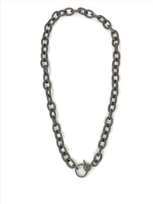 Gunmetal Thick Open Link Chain with Diamond Clasp 16 1/2""