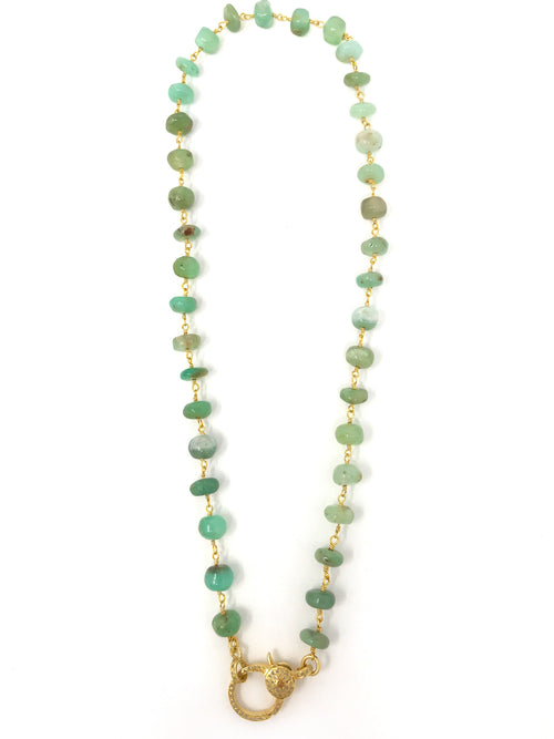 Chrysoprase Beaded Chain with Vermeil Diamond Clasp 16 1/2""