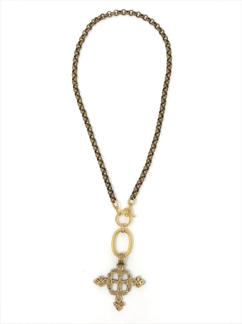Brass Chain with Diamond Clasp and Ethiopian Cross - Necklace