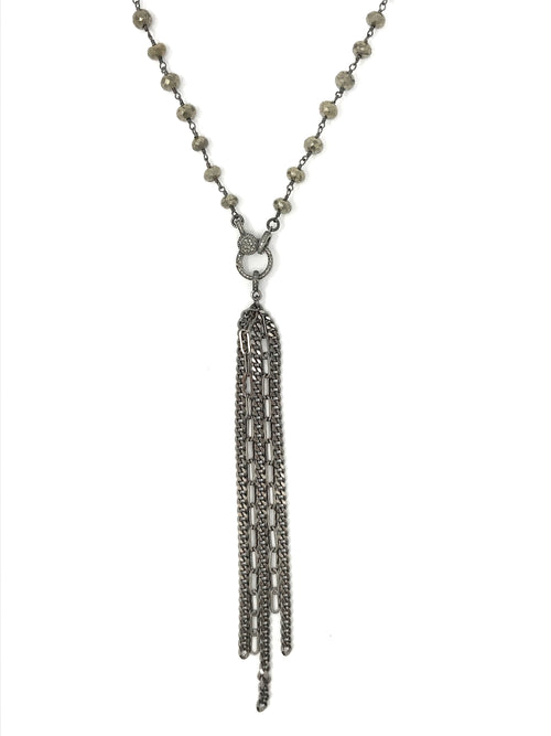 Fringe Gunmetal with Diamond Bail Pendant
