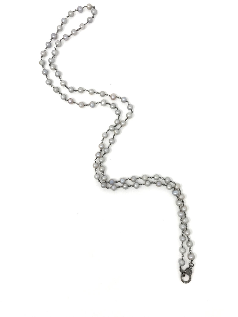 Freshwater 8mm Gray Pearl and Gunmetal Chain with Diamond Clasp 45""