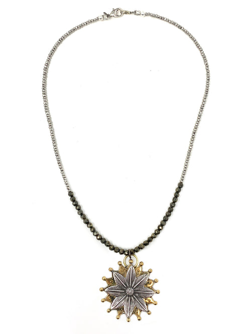 Two Tone Pyrite Chain with Vintage Two Tone Flower Pendant