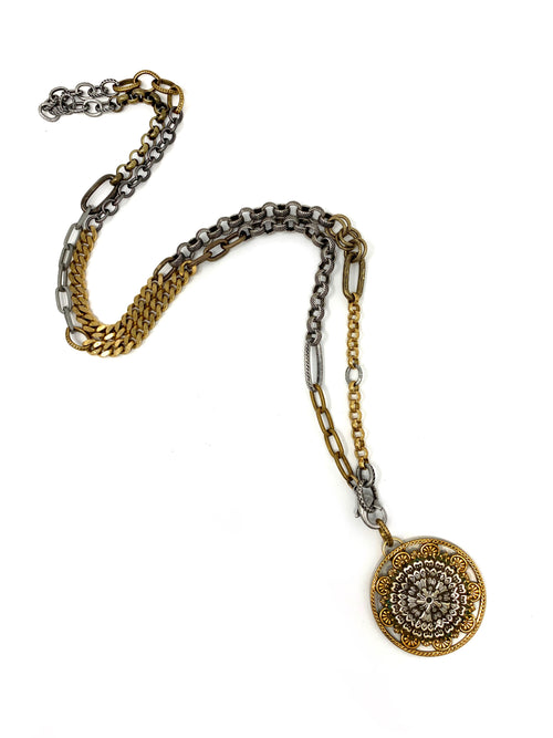 Mixed Metal Vintage Chains with a Two Tone Vintage Pendant