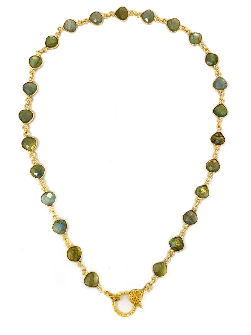 Bezel Set Labradorite Chain with Vermeil and Diamond Clasp