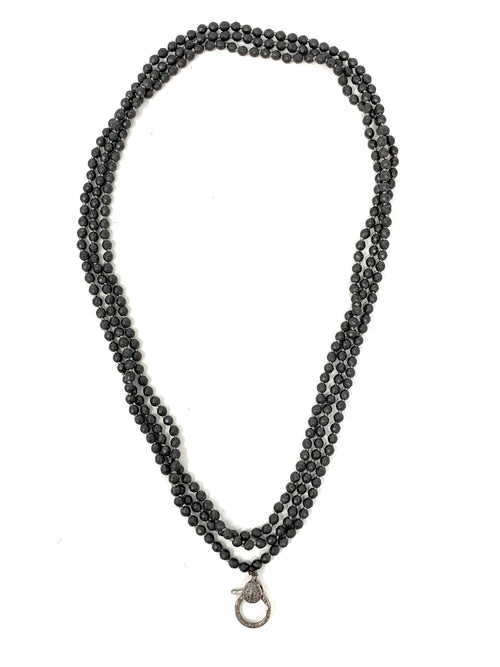 Matte Handknotted Hematite Chain with Diamond Clasp