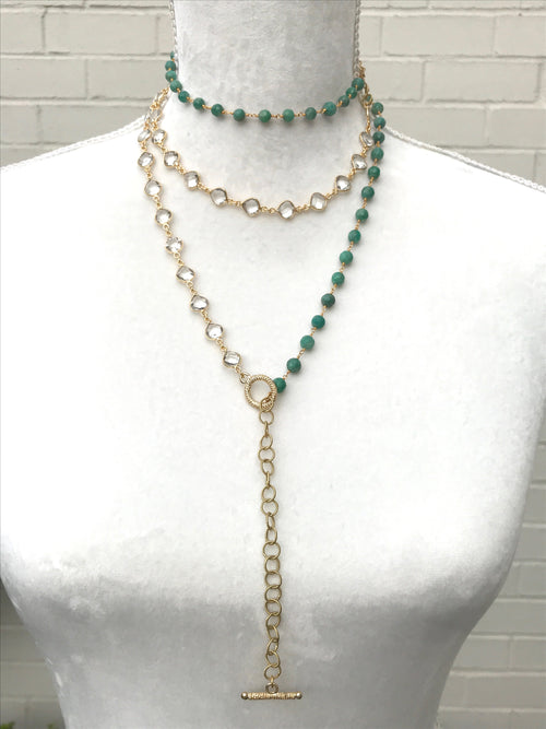 Chrysoprase and Quartz Long Chain with Toggle - Necklace