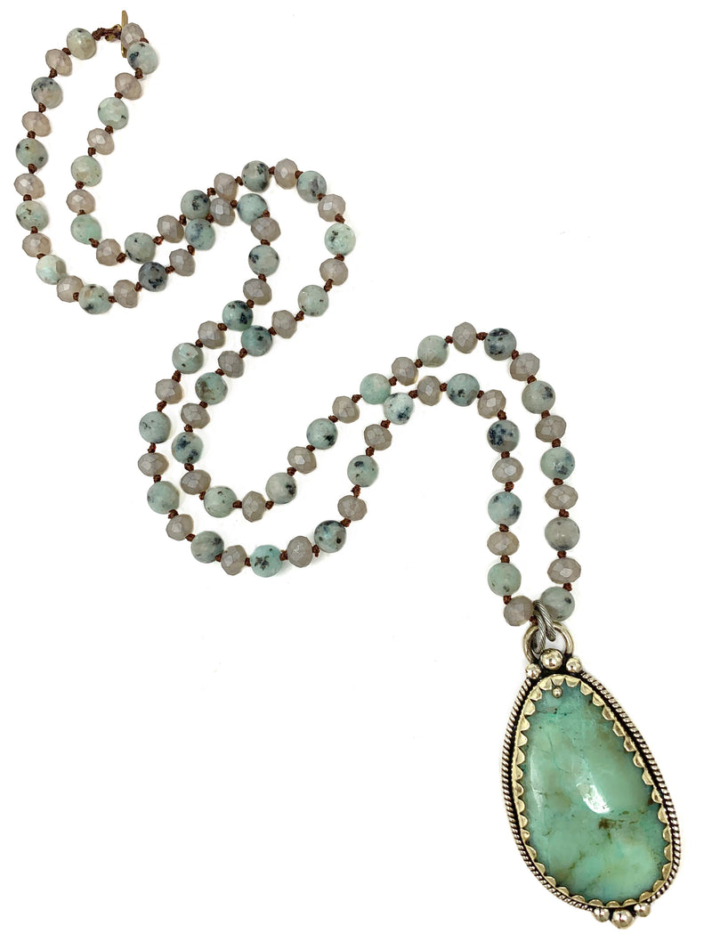 Tibetan Amazonite Pendant on Gray and Sage Handknotted Beads