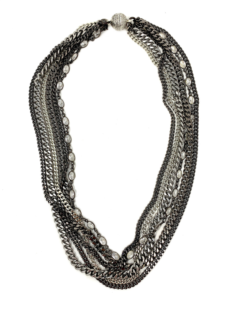 Multiple Curb Chain and CZ Layered Necklace with Magnetic Clasp