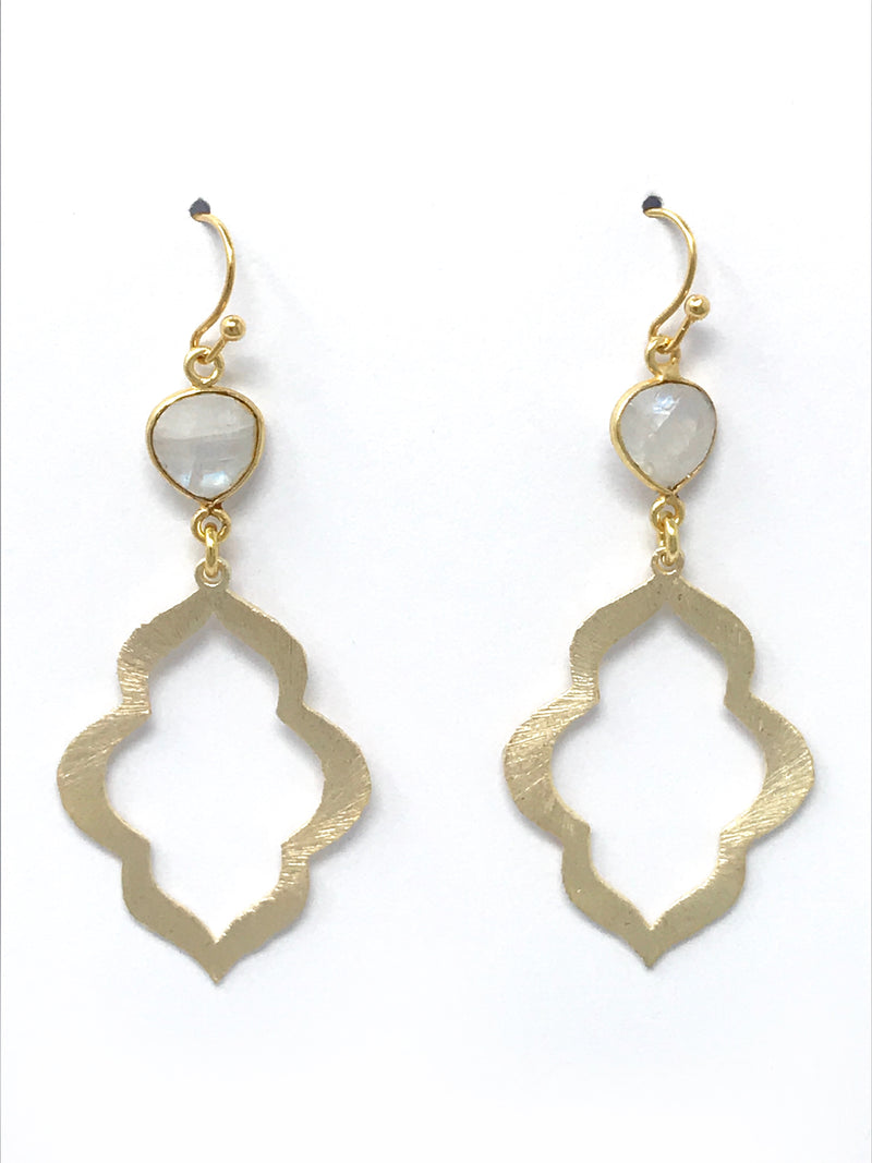 Moonstone Bezel Set Stone and Small Gold Scallop Drop Earrings