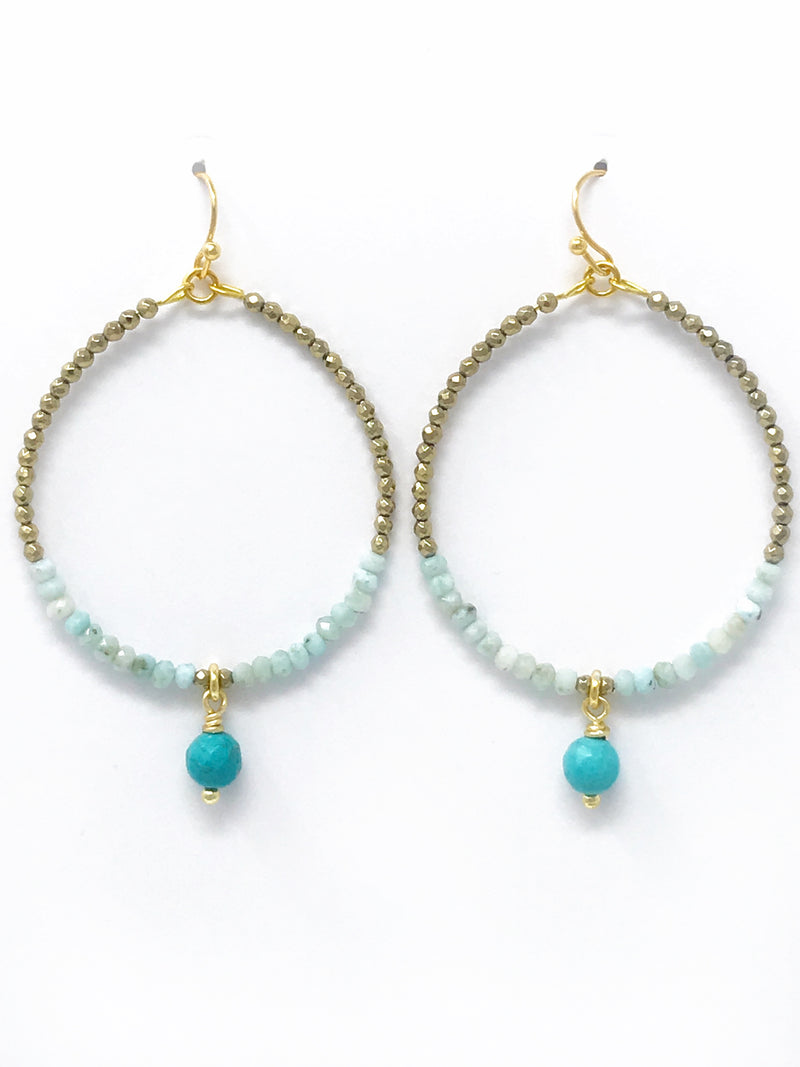 Pyrite and Amazonite Beaded Hoop with Turquoise Drop Earrings