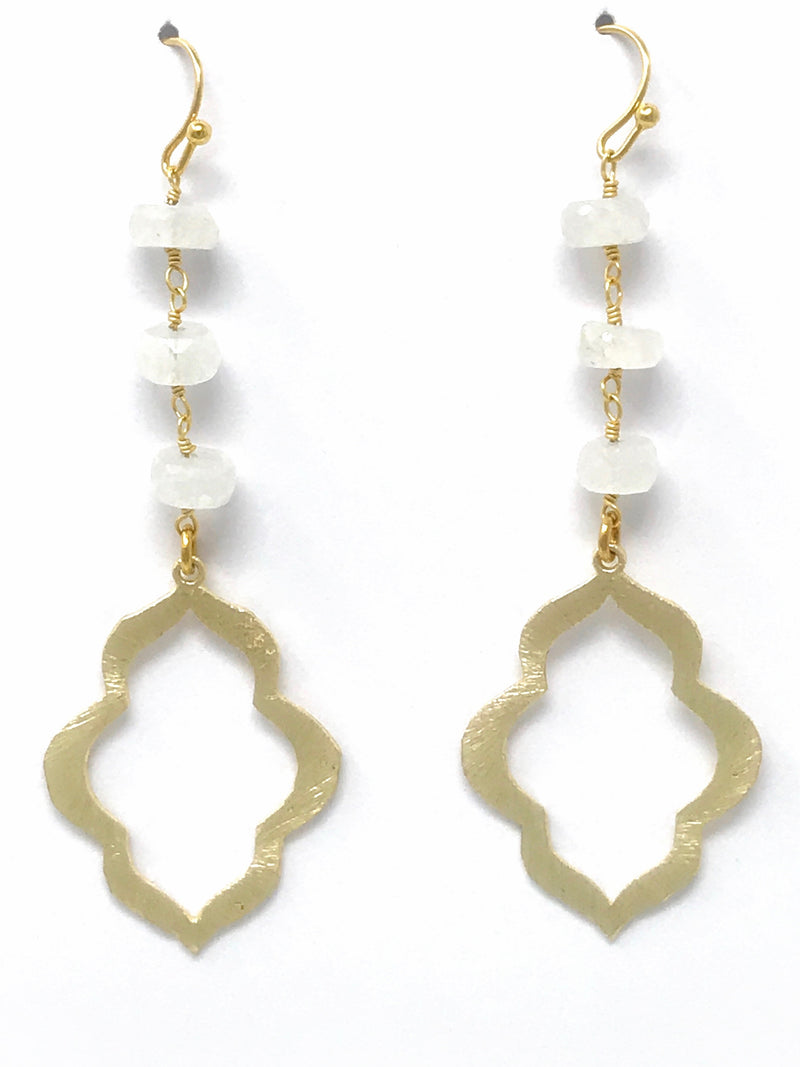 Moonstone and Small Scallop Gold Drop Earrings