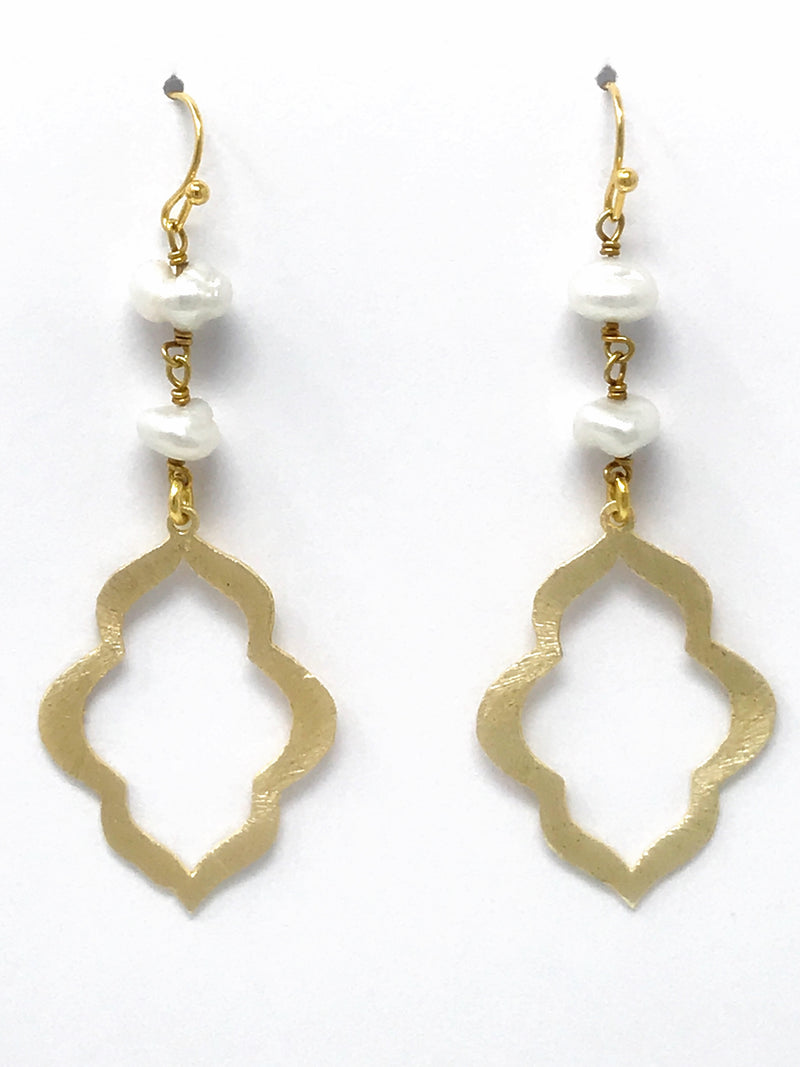 Freshwater Pearl and Small Gold Scallop Drop - Earrings