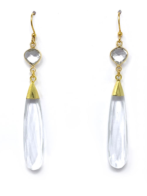 Double Quartz Gold Drop Earrings