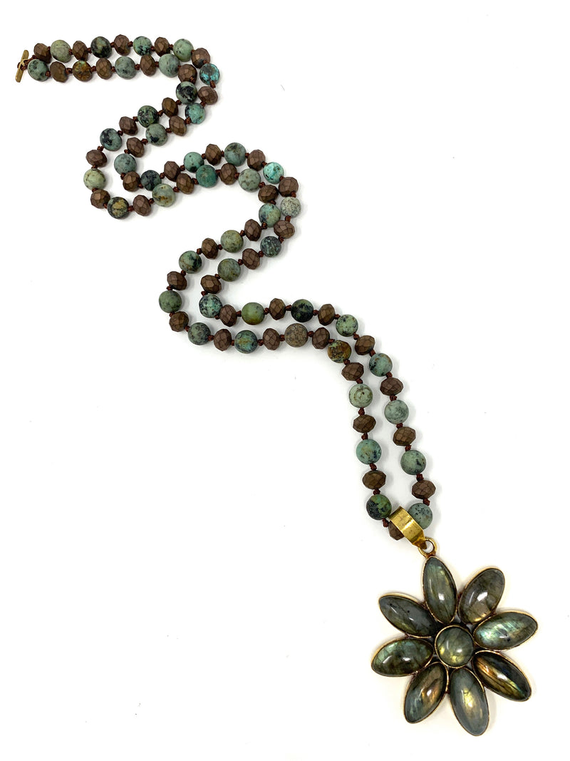 Labradorite Flower Pendant On African Turquoise and Brown Matte Beads