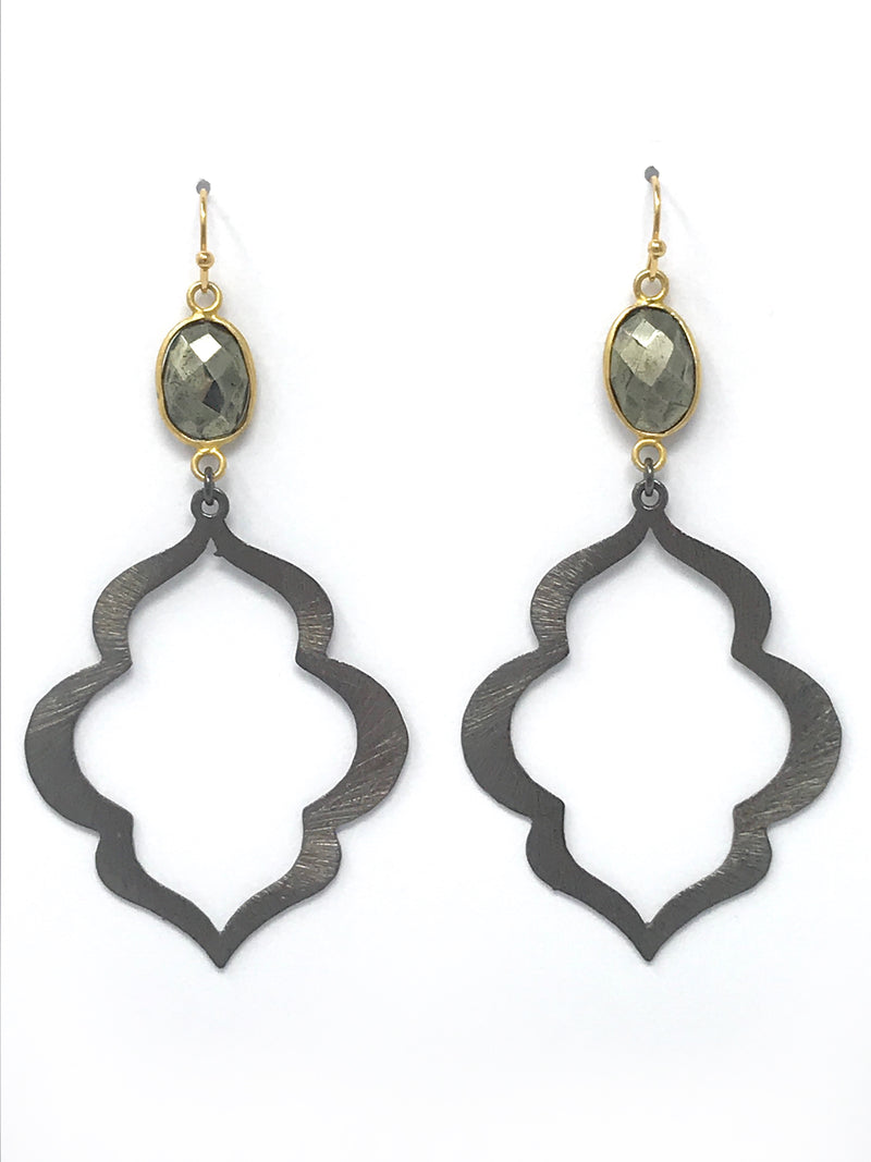 Pyrite with Gold Edge Bezel and Large Gunmetal Scallop Drop Earrings