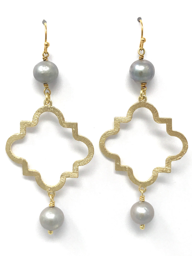 Freshwater Gray Pearl and Medium Gold Quatrefoil Drop Earrings