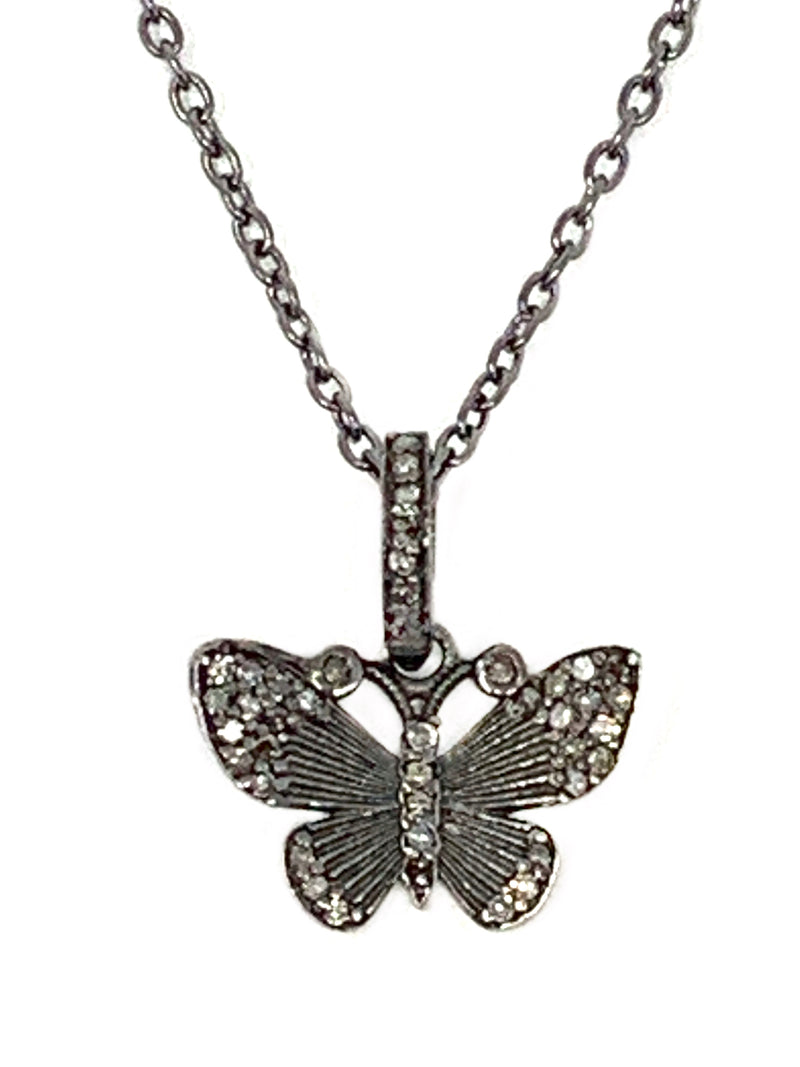 Sterling And Pave Diamond Butterfly Charm on Sterling Chain
