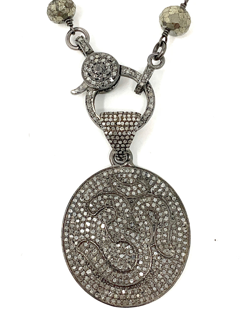 Pave Diamond Sterling Silver OM Pendant