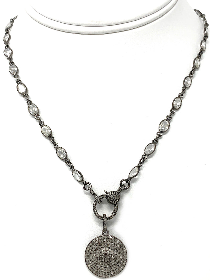 Pave Diamond Evil Eye Pendant on Cubic Zirconia with Diamond Clasp Chain