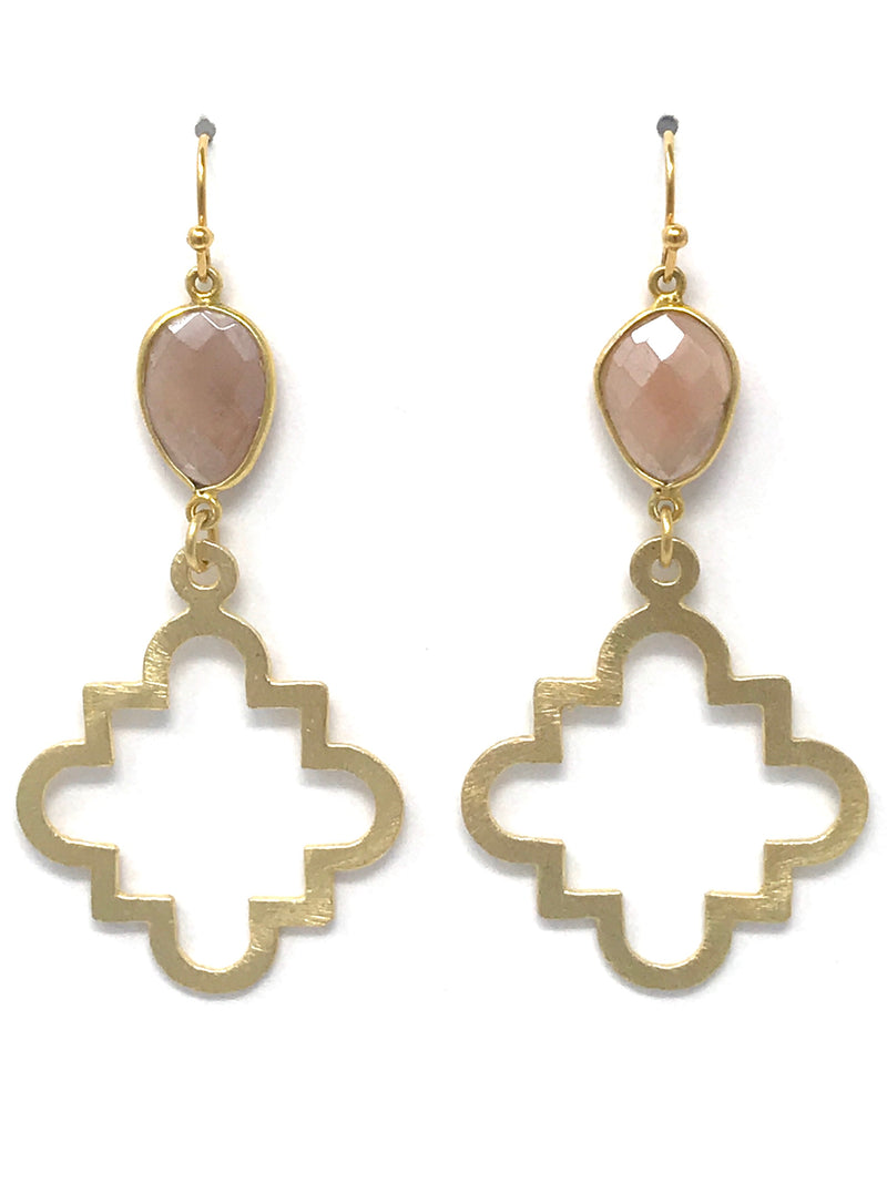 Pink Moonstone and Medium Gold Quatrefoil Drop Earrings
