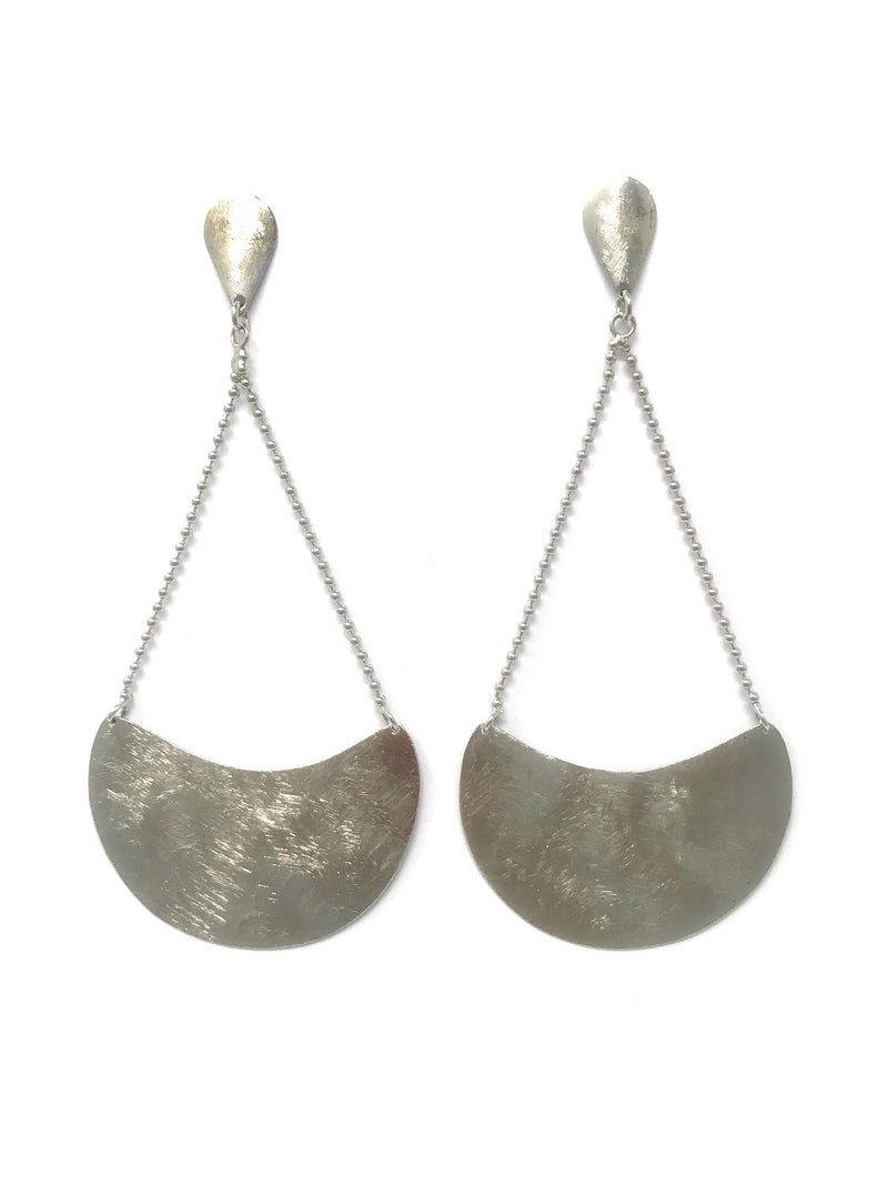 Sterling Silver Brushed Long Earrings