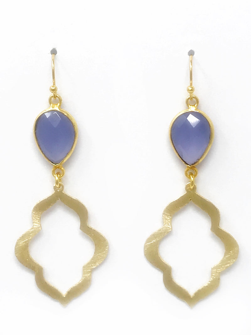 Lilac Bezel Set Stone and Small Gold Scallop Drop Earrings