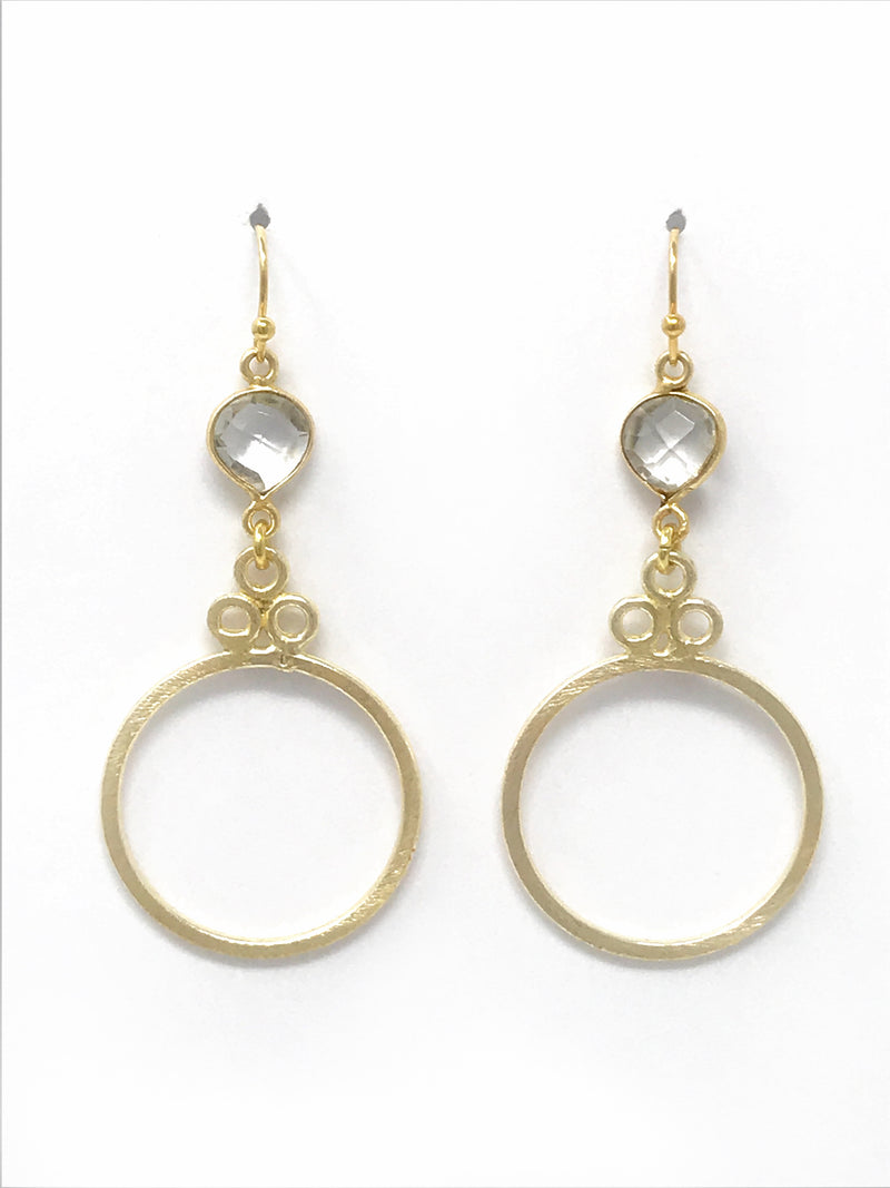 Quartz Bezel Set Stone with Gold Circle Drop Earrings