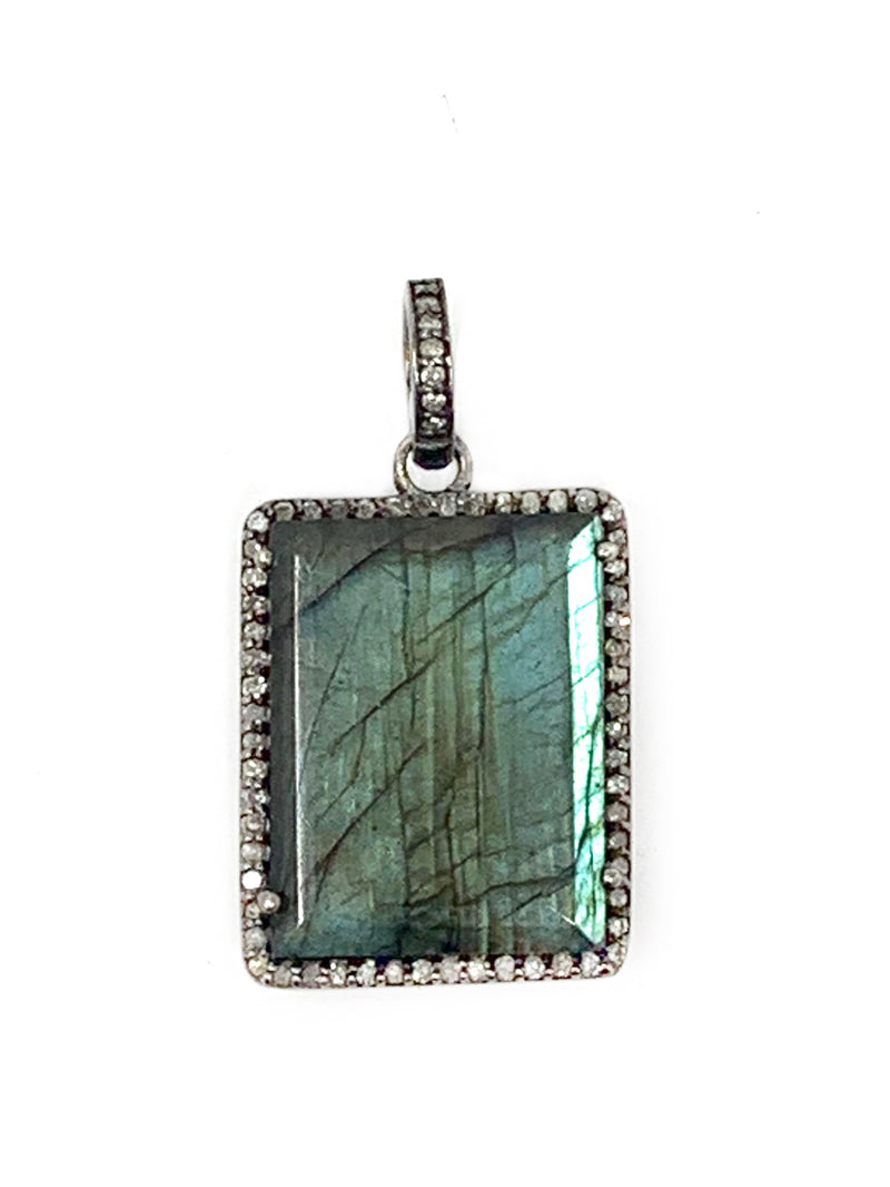 Rectangle Labradorite Pendant Surrounded by Diamonds