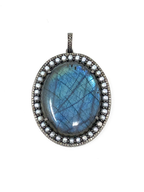 Labradorite Pendant Surrounded by Pearls and Pave Diamonds