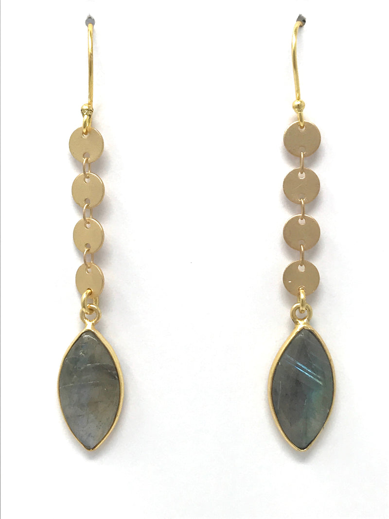 Labradorite on Gold Disc Chain Earrings