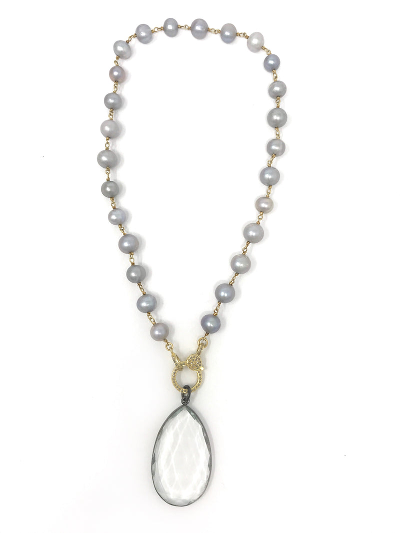 Freshwater Gray Pearl and Diamond Clasp Necklace with Quartz Pendant