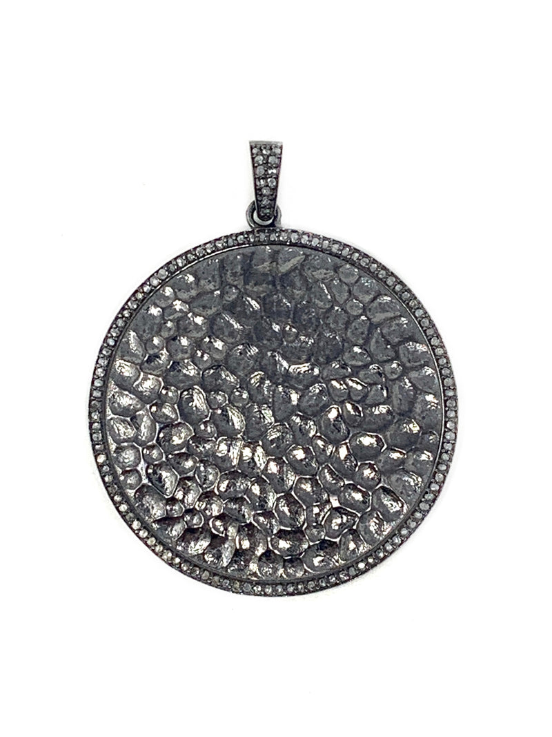 Hammered Sterling and Diamond Disc Pendant