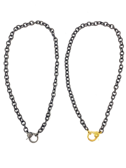 Matte Gunmetal Chain with Diamond Clasp