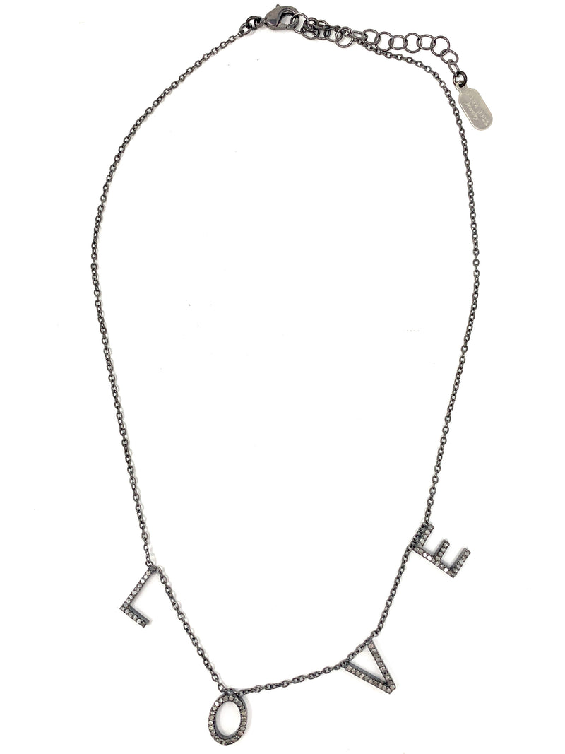 Dangling Pave Diamond L-O-V-E Necklace