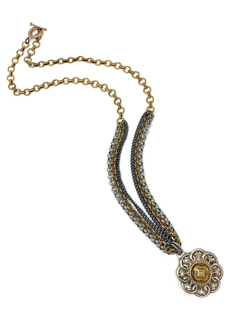 Multi Mixed Metal Chain with 2 Tone Vintage Pendant Necklace