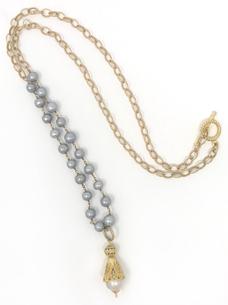 Freshwater Gray Pearls with Gold Filligree / White Pearl Pendant - Necklace