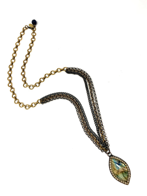 Multi Mixed Metal Chain with Labradorite and Crystal Pendant