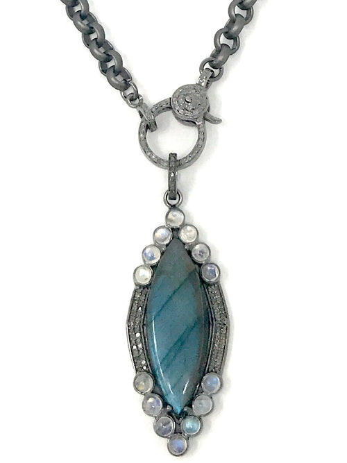 Labradorite Marquis Shaped with Aquamarine and Pave Diamond Bezel Pendant