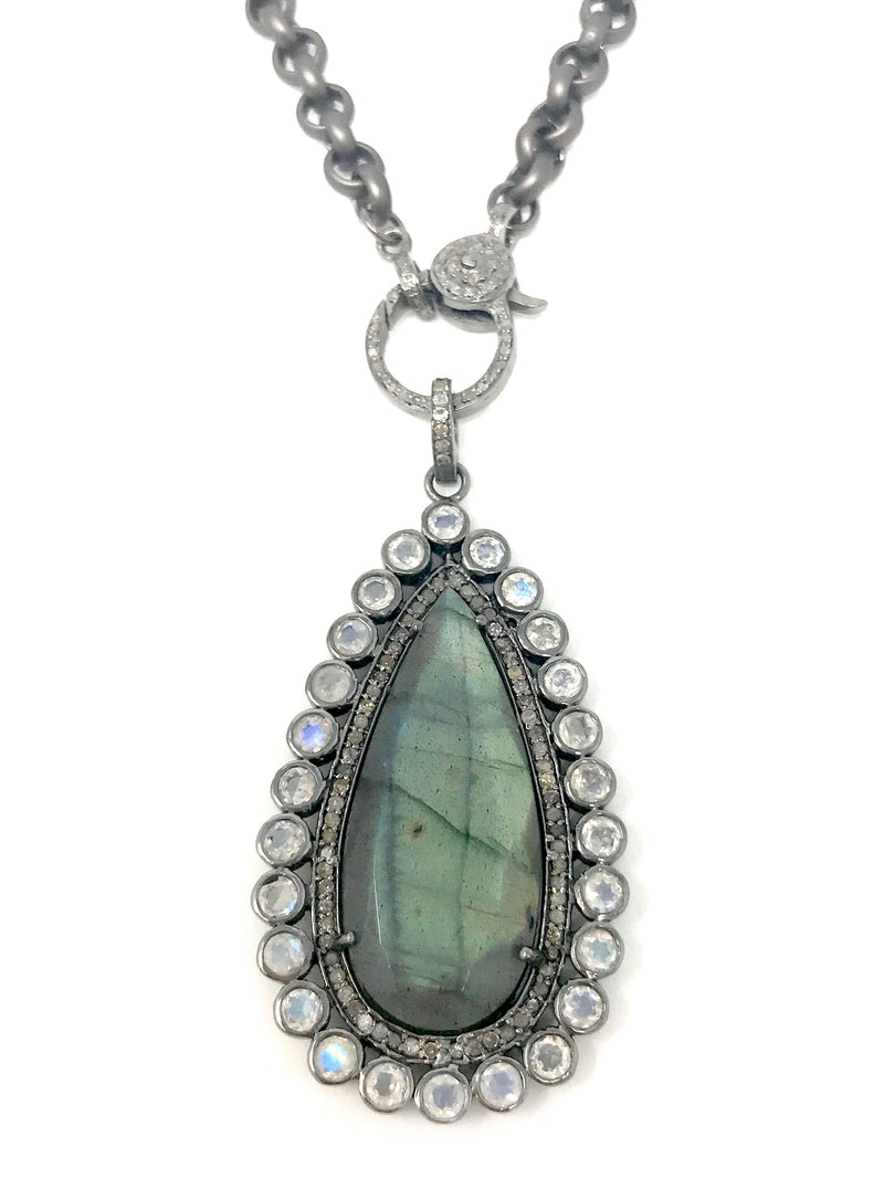 Labradorite Teardrop Shape with Moonstone and Pave Diamond Bezel Pendant