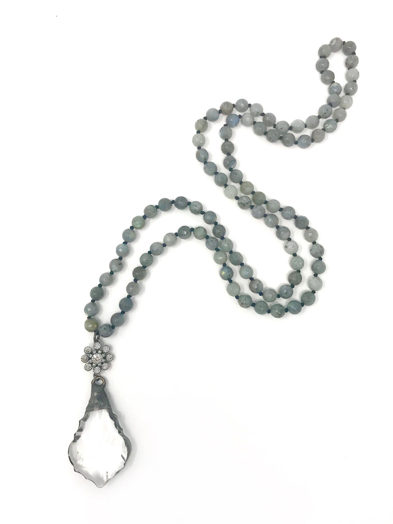 Labradorite Handknotted Beads with Vintage Soldered Crystal Pendant - Necklace