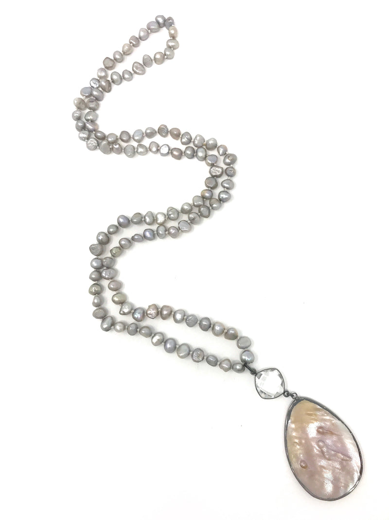 Silver Freshwater Pearls with Silver Edge Mabe Blister Pearl Pendant - Necklace