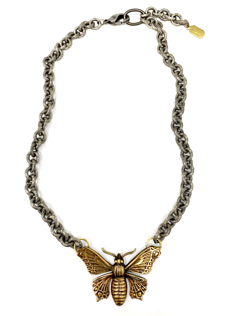 Vintage Brass Butterfly with Chunky Antique Silver Chain