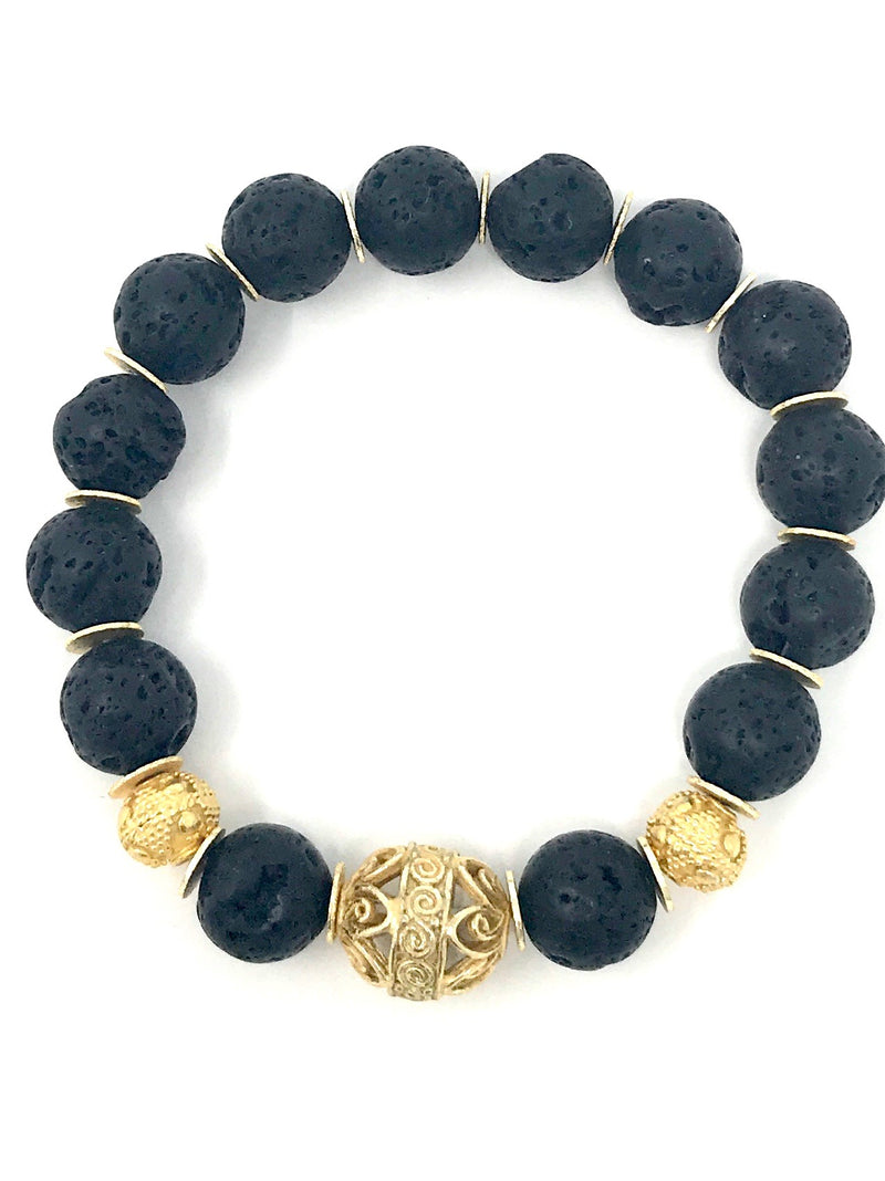 Black Lava 10mm Beads with Gold Spacers and Gold Focal Beads - Bracelet