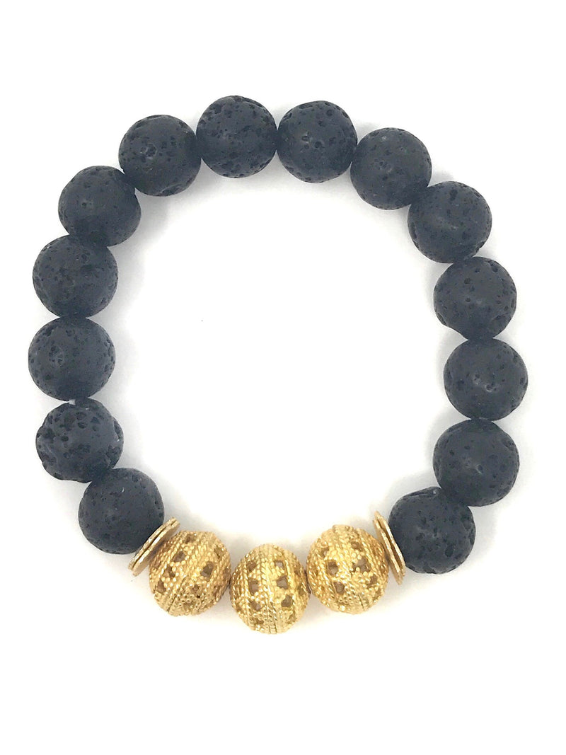 Black Lava 10mm Beads with 3 Gold Focal Bead Bracelet