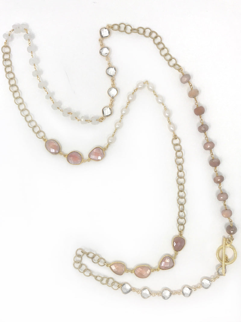 Gemstones and Pearl Necklace with Toggle