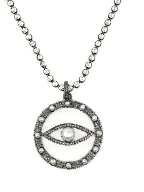 Evil Eye Circle Pendant in Pave Diamonds and Pearls