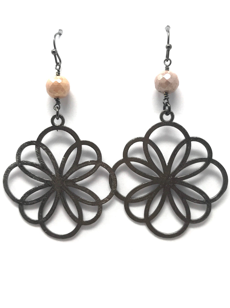Peach Moonstone and Gunmetal Geo Flower Drop Earrings
